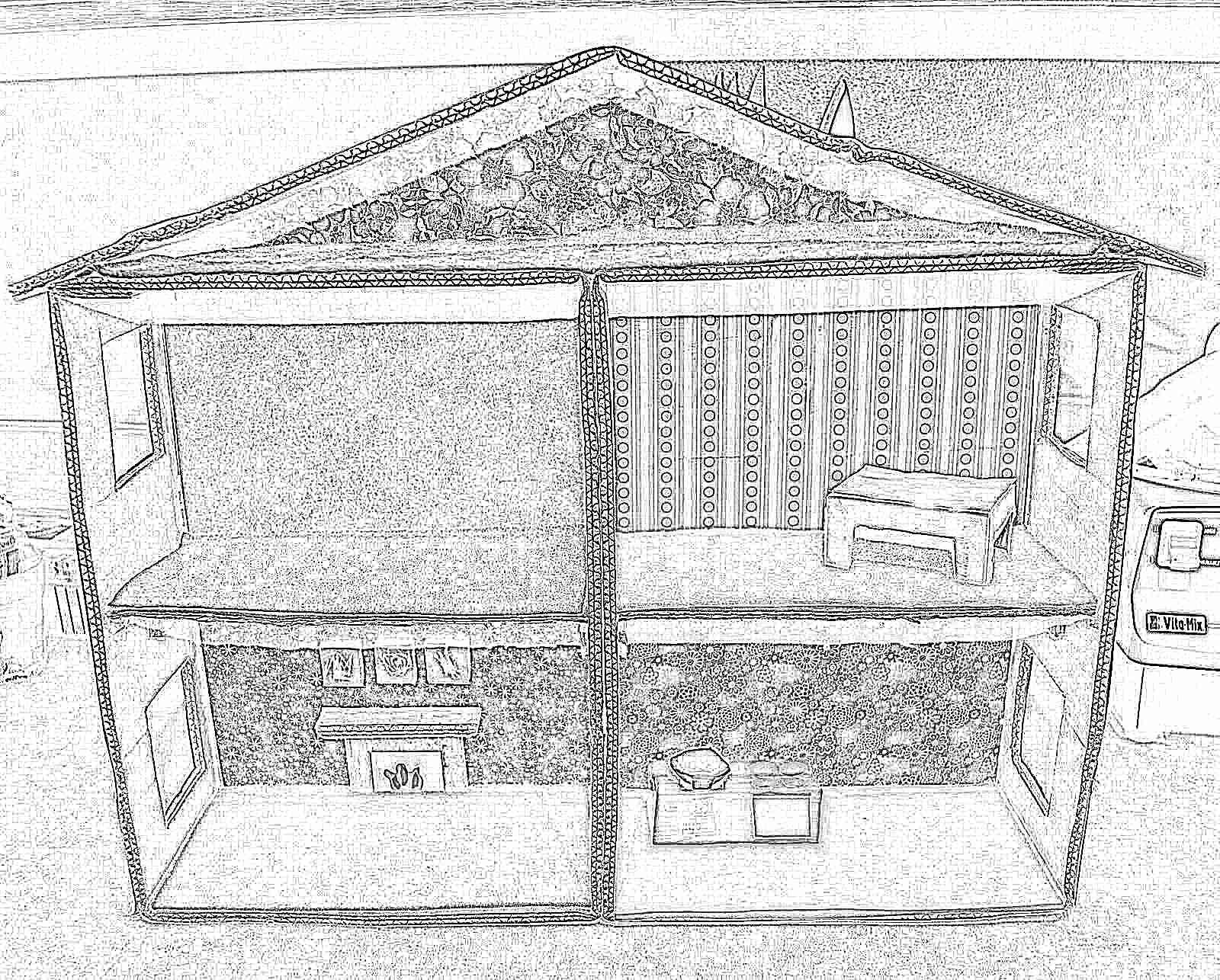 сделать домик из картона замок шаблон с размерами