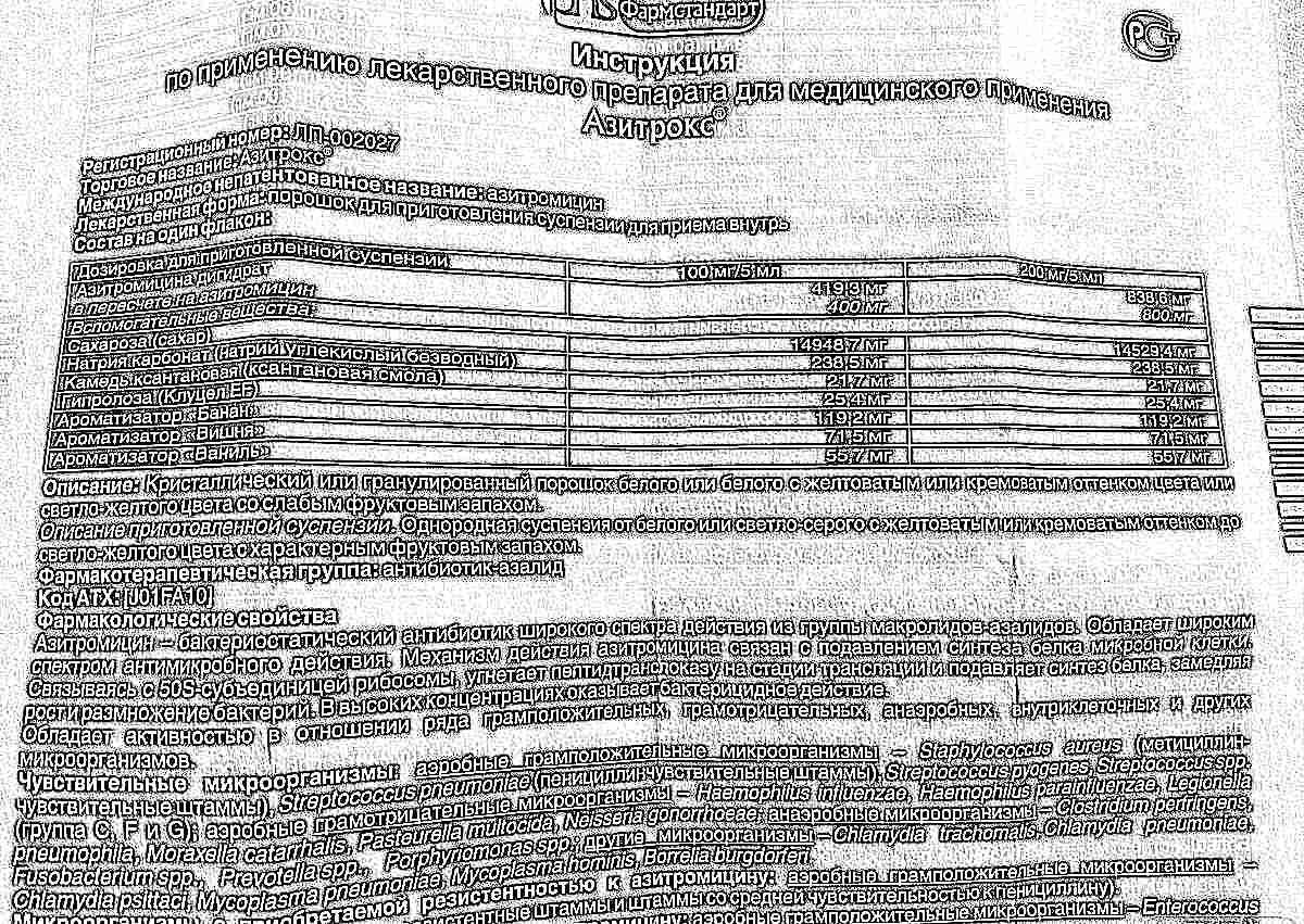 азитрус 250 мг инструкция по применению