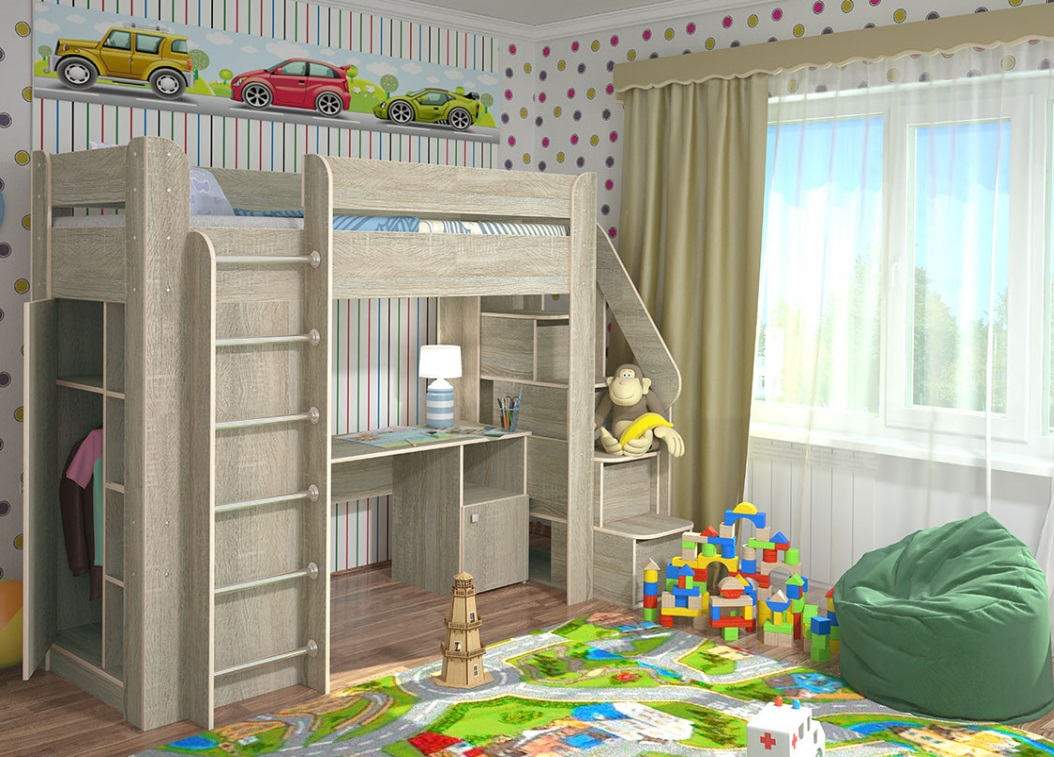 Детская кровать-чердак (165 фото): модели для девочек и мальчиков от 3 лет с рабочей зоной, со столом и шкафом 55