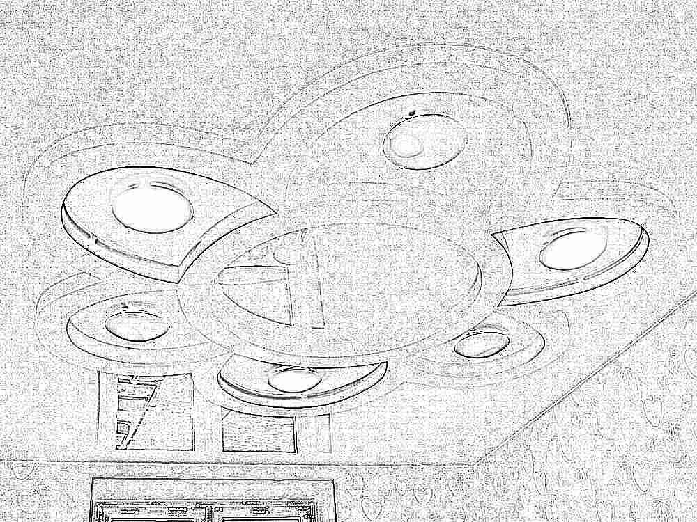 Цветы на потолке из гипсокартона  фото