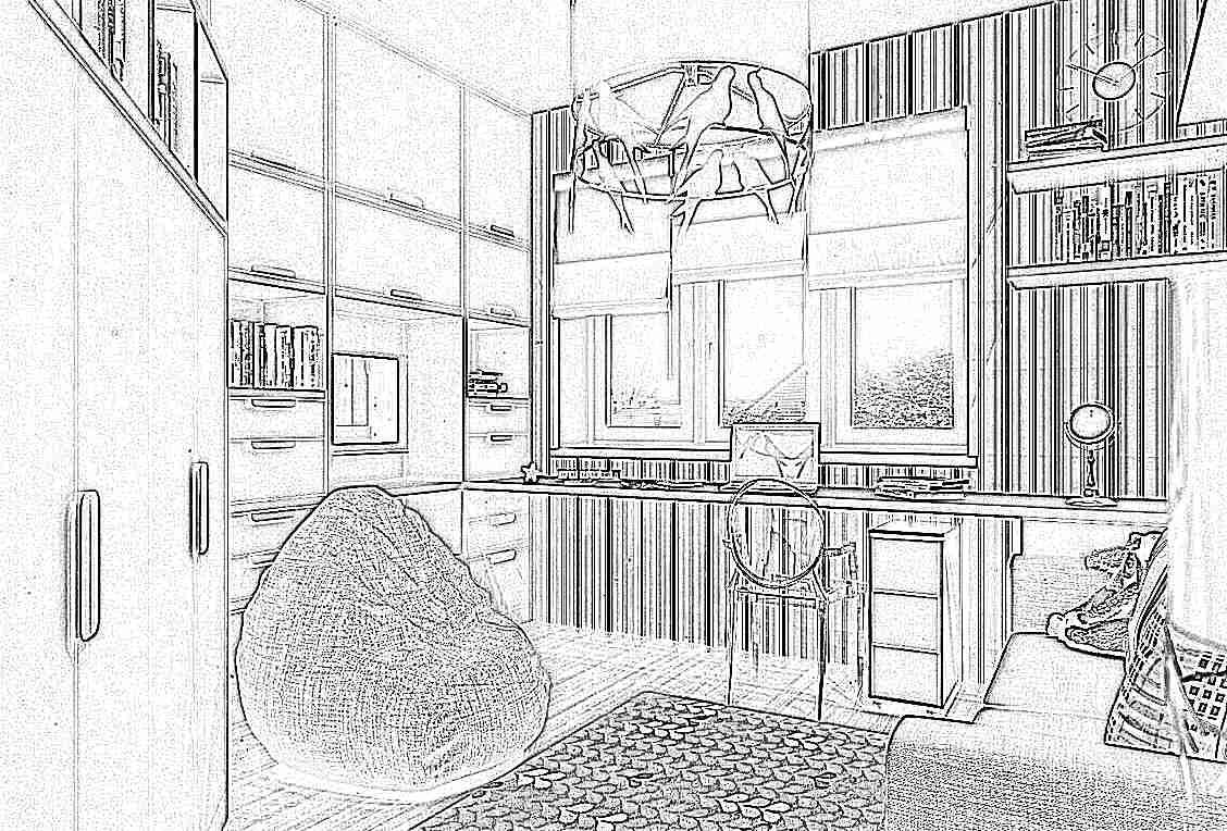 Детская комната со столом у окна дизайн