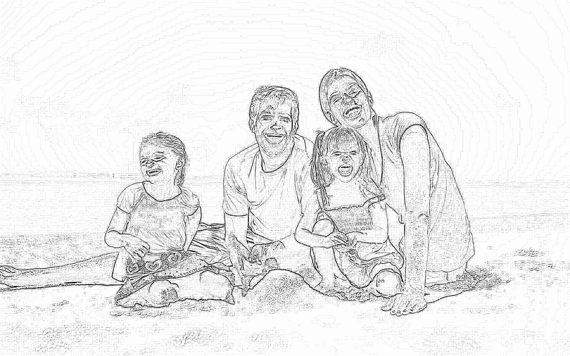 Картинка красивого дома у моря с семьей