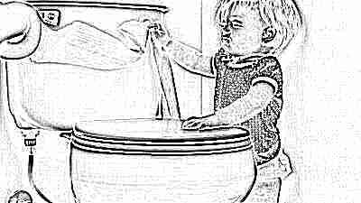 Ребенок, унитаз и туалетная бумага