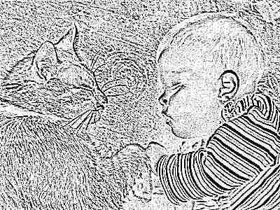 Грудной ребенок и кот