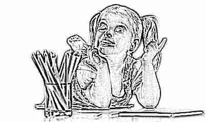 Девочка с карандашами рисует