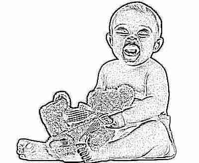Ребенок кричит, сидит с игрушкой