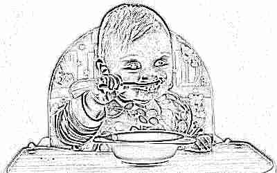 Прикорм ребенка - ест кашу