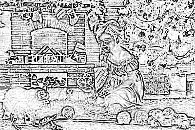 Ребенок и мандарины