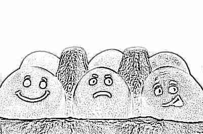 Куриные яйца с нарисованными лицами