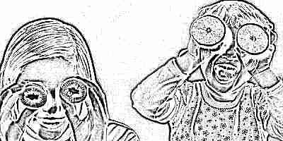Дети с фруктами - витаминами