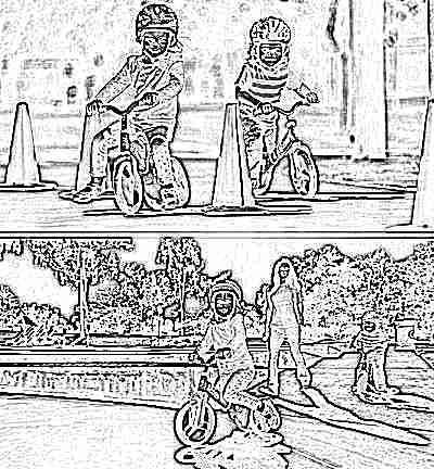Дети на велобайке