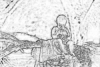 Ребенок с грушей